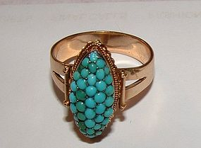 Vintage 14K Yellow Gold Persian Turquoise Ring 7.5