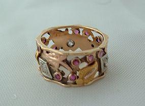 Arts & Crafts Nouveau 14K Diamond Ruby Eternity Band