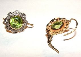 Victorian 14K Gold Peridot Diamond French Back Earrings