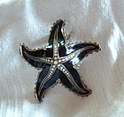 David Andersen Silver Black Enamel Starfish Pin