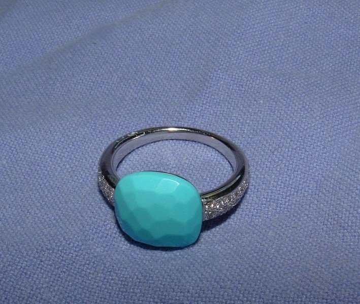 Authentic Pomellato Capri 18k WG Diamond Turquoise Ring