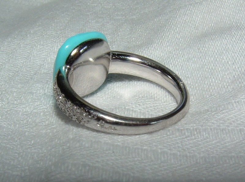 Authentic Pomellato Capri 18k WG Diamond Turquoise Ring