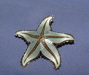 Ivar Holt/David Andersen Silver Enamel Starfish Pin