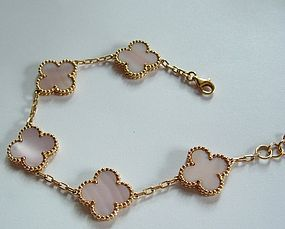 18K Yellow Gold Flower Clover Mother of Pearl Bracelet