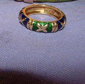 Authentic Hidalgo 18K Gold Enamel Ring Size 6.5