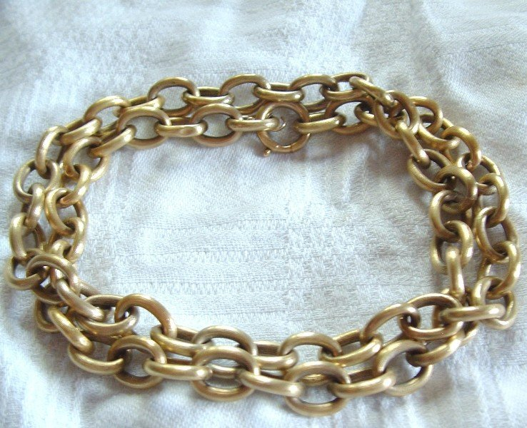 14K Yellow Gold Brushed Finish Chain Necklace 21 Inches