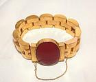 Victorian 18K Gold Link Bracelet Carnelian Locket Clasp