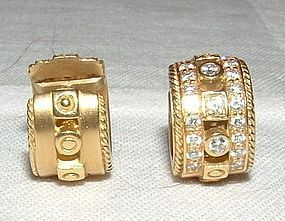 Penny Preville 18K YG Diamond Reversible Earrings