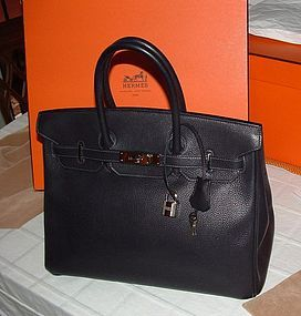 Authentic Hermes Birkin Bag 35cm Silver HW Indigo Togo