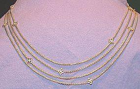 18K Yellow Gold Diamond Long Chain 79 Inches Long