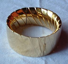 18K Yellow Gold Wide Cuff Bracelet Heavy