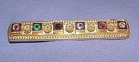 "Etruscan 14K Yellow Gold Diamond ""REGARD"" Bar Pin"