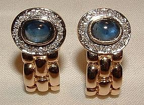 14K YG Sapphire Diamond Earrings Very 'Bulgari!'