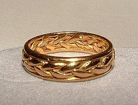 Vintage 18K Yellow Gold Braided Design Eternity Ring