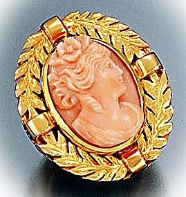 Victorian 18 Ct Coral Cameo Ring
