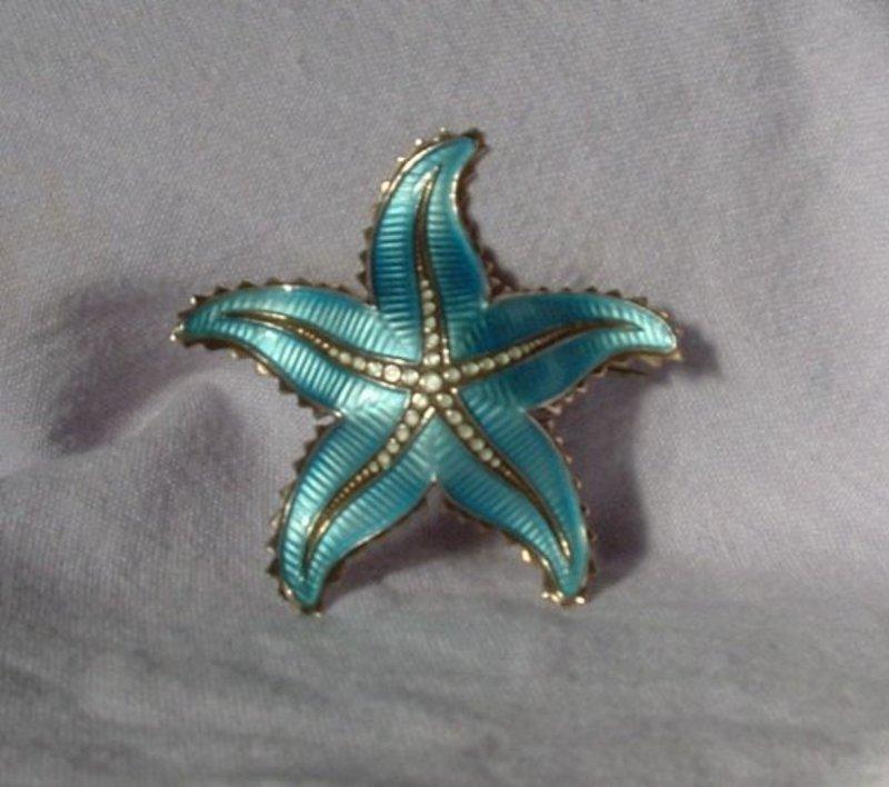 Silver Enamel Turquoise Starfish Pin Scandinavian