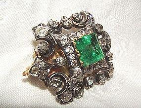 Victorian 18K Diamond Emerald Brooch & Pendant c1840s