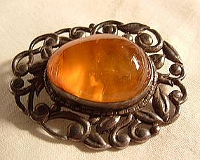 Art Nouveau Period Russian Amber Pin in Sterling Silver