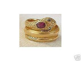Vintage 14K Yellow Gold Garnet Diamond Snake Ring