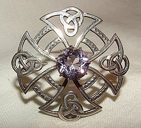 Sterling Silver Celtic Badge Pin with Amethyst