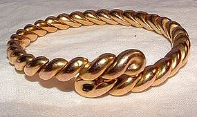 14K Yellow Gold Deco Flexible Snake Bracelet
