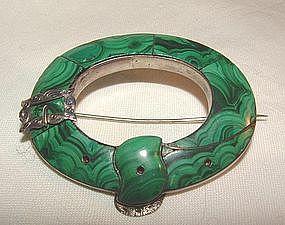 Scottish Silver Malachite Buckle Pin