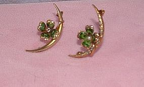 14K Gold  Enamel Diamond Pearl Crescent Shamrock Pins