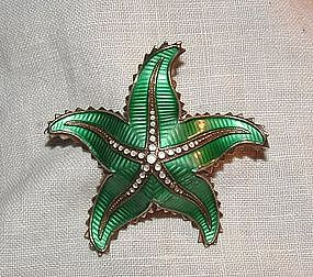 David Andersen Silver Enamel Green Starfish Pin Norway