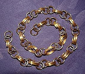 Rose and Yellow Gold Bookchain Necklace 18""
