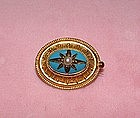 Victorian Gold Etruscan Pearl Pin with Turquoise Enamel