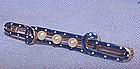 Victorian 14K Gold Pearl Enamel Bar Pin