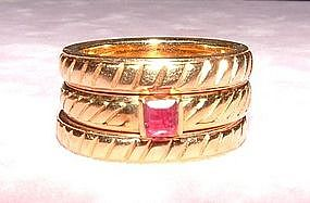 18K Yellow Gold and Ruby Stack Rings