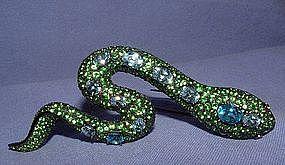 18K Tourmaline Aquamarine Diamond Snake Brooch