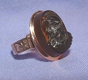 Victorian 14K Rose Gold Engraved Black Intaglio Ring