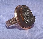 Victorian 14K Rose Gold Engraved Black Intaglio Ring