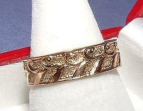 Art Deco Pattern 14K Yellow Gold Eternity band