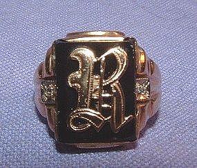 14K Yellow Gold Onyx Diamond Initial Ring