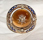 14K Gold Amber Brooch with Enamel, Pearls, Diamonds