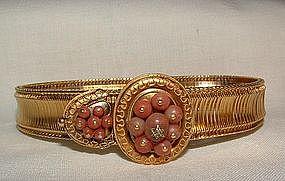 Victorian 18CT Gold Coral Etruscan Slide Bracelet