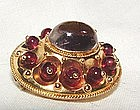 18K Yellow Gold Victorian Amethyst Garnet Mourning Pin