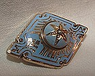 Victorian 14K Yellow Gold Enamel Mourning Locket Brooch