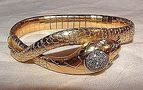 18K Yellow Gold Diamond Deco Snake Bracelet Flexible
