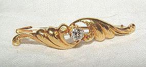 Art Nouveau 14K Gold Diamond Brooch