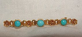 Victorian 14K Gold Turquoise Bar Pin