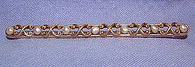 Large Art Nouveau 14K Gold Pearl Bar Pin