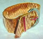 18K Rose Gold Deco Retro Diamond Ruby Buckle Bracelet