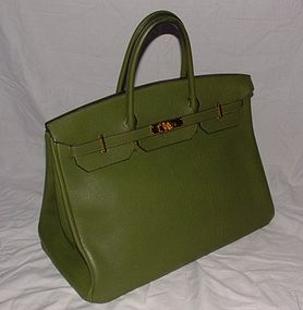 Authentic Hermes Birkin Green Togo Leather Bag 40cm