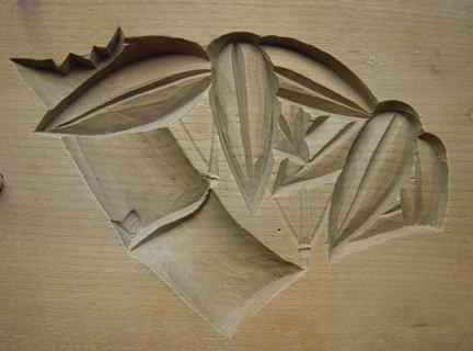Kashigata, Wooden Sweet Mold, Bamboo Motif, Japan