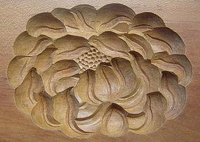 Kashigata, Wooden Sweet Mold, Chrysanthemum Motif