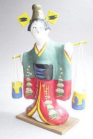 Miharu Hariko Papier-mache Doll, Maiden & Water Pails